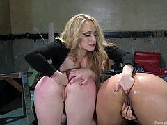 Aiden is a lucky woman. Not only is she fine as hell, she likes her lesbian sex, and she gets two hotties to play with. She oils up both of their sexy asses and uses her fingers, and toys to stretch them, and make them scream.