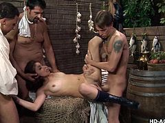 These men were experienced and they started the session really slow. Once her tiny asshole adjusted to cock size, they banged her really hard. Throughout the session, she moaned loudly and all the three guys invaded her ass hole for ultimate pleasure.