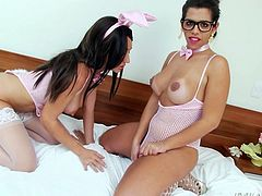 Fernanda gives Eloa the perfect combination. She gets the beautiful, soft body of a woman, but a nice, hard cock between the legs, so she can get the meat along with the rest of it. Watch as the former Fernando tongues Eloa's pussy and ass.