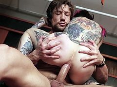 Visit official Burning Angel's HomepageCurvy ass bitch with body full of tattoos bends ass for cock after great moments of deepthroat, hoping for a mind blowing anal until exhaustion