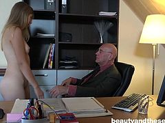 This Senior hired her for house cleaning, but she is going to clean his old wrinkled dick from dust. She approached him totally naked and he feel new strength in his dormant penis. Watch Daisy sucking Hugo's dick on knees, instead of house cleaning. Enjoy impetuous sex action!