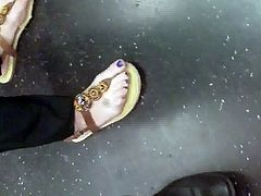 Candid feet purple toes and tat