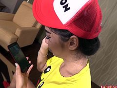 The PokemonGo game with tiny ladyboy Yoyo ends with ass-fucking and creampie. Guy catching Yoyo's ass and fucking it bareback.