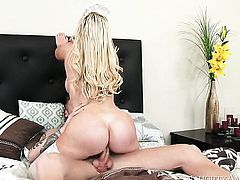 Blonde exotic Nikki Benz with round booty and smooth muff finds it exciting to be cum drenched