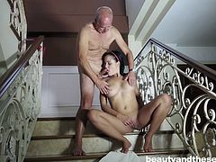 Beautiful babe Diore, loves fucking with older men. She claims there is something special about satisfying an older guy and sucking out every drop of cum out of their shriveled balls. It's just what she is great at. Diore is also a profound cock sucker and she loves to suck for a long time!