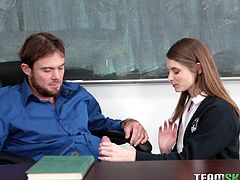 Alice knows how to seduce her teacher. She unbuttons her shirt and ask him to touch her boobs. Then he inserted his fingers in her crisp pussy. Her cock sucking techniques are fantastic and she licks every inch of his balls. He will fuck her hard on desk...