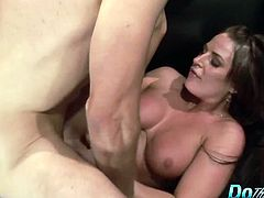 Tempting hot milf takes a stiff cock deep inside her fleshy pussy and rides it hard in many positions while her husband is watching
