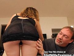 This horny slut wife wanted to show her hubby how good she can suck and fuck! Watch her swallow Dirty D's big cock and take it deep up her pussy.
