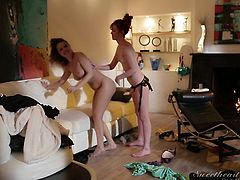 Elle and Dillon are getting naked and hot with one another, but with that ginger in the room, you should expect a rather quick escalation. The devious vixen Elle, gets the strap-on out and puts her friends on her knees, to suck it. She gets behind her and gives her a very rough fucking.