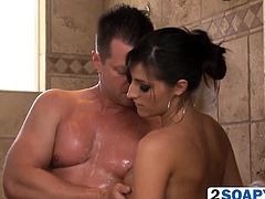 Kortney Kane sucks a stiff dick in a shower