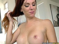 Petite redhead Dani Jensen gets her pink pussy stretched by big black cock...