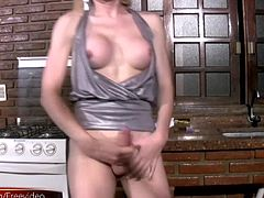 Looks like the vital shemale chick Alessandra is in the kitchen making herself a yummy sandwich. And after you get a look at this perfect blonde tranny in her sexy outfit, you will get hungry too...