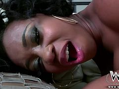 This hot milf wants it now. Her black skinned body, natural big tits and her need to ride a cock is simply unique.