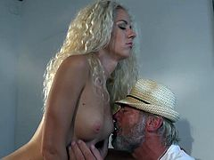 Young sexy blonde fucks an old man sucks his cock gets pussy fucked doggy style and missionary he licks her pussy fingers her tight vagina cums in her mouth and she slurps and swallows his cum-shot the grandpa felt amazing