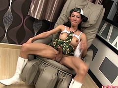 Thai shemale Ja in a kinky military outfit with a plastic guy upskirts and shows off her huge boobs and pretty big cock. Then Ja takes dick into mouth and gives deep and wet blowjob, at the same time preparing her ass for bareback fucking with creampie at the end.