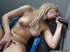Blonde Dahlia Sky gives Blowjob at an adult bookstore, before her ass and pussy getting fucked by a huge black dick...