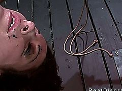 Brunette Marley Blaze deep throat fucked in bondage
