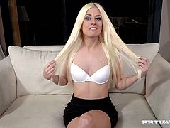Stunning blond bitch Jessie Volt gives interview