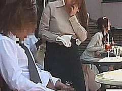 Subtitled Japanese public cafe erection wiping waitress