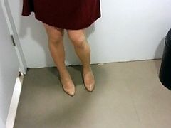 Beige Patent Pumps with Pantyhose Teaser 20