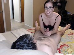 Hot amateur wife in glasses gives an amazing head in point of view