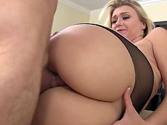 Seductive blonde Natalia Starr rides dick in the kitchen