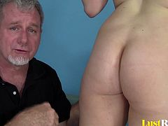 After showing off her body to this old man, Sarah Stoner got exactly what she asked for. He licked her shaved pussy and as she got