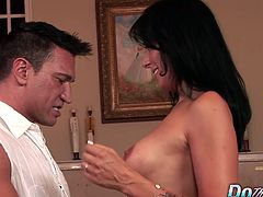 Sexy Zoey's husband watches the action as she gets fucked hard by a porn stud