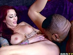 A black guy Rico, accidentally opened the dressing room door and saw world known porn star, Monique Alexander. She just removed her dress, making her huge boobs visible. It was his chance and he decided not to lose it. He stimulated her cunt, sucked her juicy melons and fucked her wet holes with his bbc