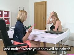 Tracy was giving training to new lesbian model. She removed her clothes and started fingering, to seduce her. Tracy ordered her to undress herself and squeeze her breasts. She rubbed Tracy's cunt, licked her hard nipples, made her wet and then, fucked her with a dildo.