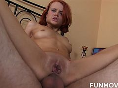 Skinny ginger whore takes huge dick in her trashy looking anal hole