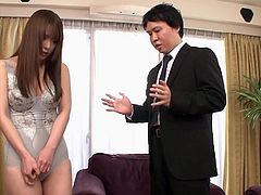 Yuino is a big boobed lady with hot and sexy body. Her husband gifted her to his boss for one day. He grabbed her tits and pressed her hard nipples, kissing her juicy red lips. He inserted fingers in her ass hole and stimulated her cunt. She was moaning loud, when he drilled her holes.