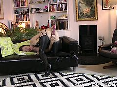 Lara is my best wife ever! Just imagine her dressed in black latex stockings, corset and sexy bra... unbelievably hot! First she teases me, masturbating in front of me and moaning loudly. Then she crawls to my feet and sucks my already hard member. I'm ready to explode, when she looks at me. Really exciting!