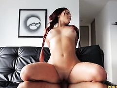 Tattoos milking worm with her hot mouth