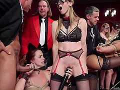 Every ten minutes, with the clap, situation changes on The Upper Floor. There are so many people here, who want to take part in this crazy orgy, that after every clap, one dick changes the other and same with the pussies, and mouths. Watch breathtaking group sex at the Armory! Have fun!