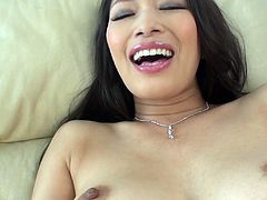 Hot Japanese milf with big appetizing boobs Reiko Kobayakawa fucks herself with pink egg vibrator