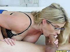 Blonde Kacey Jordan with huge hooters and trimmed bush gets her mouth attacked by guys meaty sturdy rod