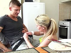 While enjoying his steak, this guy can also admire naughty Claudia's nice buttocks, as the slutty blonde teen has no underwear, just her kitchen robe. Click to watch the playful cooker showing off her other skills: sucking dick, down to the balls! Have fun.