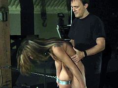 Young, fragile but stubborn, kinky slave girl has her ass spanked and whipped between begs for mercy. Crying while getting fucked, punished in silence with a big load of cum after a bondage blowjob!