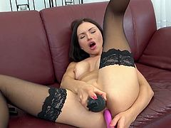 Visit official Wet And Puffy's HomepageAppealing brunette in black stockings, shows off cracking her butt hole and in the same time enjoying the pussy pump, all in a quality cam solo