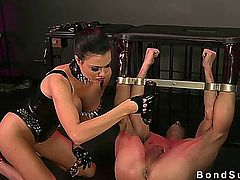 Mistress flogs and ass fingers bound guy on the floor