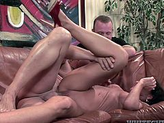 Getting fucked by several horny men makes slutty Sarah really hot. This versed milf with big wonderful tits and crazy ass gets pounded sideways, on couch. Watch the bitchy brunette sucking dick on knees and have fun!