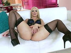 Anikka Albrite fucks her ass hole with favorite dildo toy