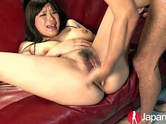 Dude tries to satisfy hairy cunt of lusty Japanese chick Chihiro Manaka