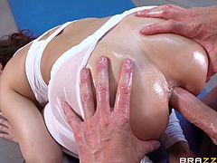 Kimber is enjoying this sexy man rubbing her all over, worshiping her juicy booty. He oils that bubble up and rubs it all over, stroking his cock at the same time. He tears those thin pants, and surprises her, when he goes not for her pussy with that thick prick, but her asshole.