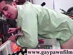 Gays fucking straight for cash on video for cash in threesome in pawn shop office