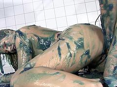 This chubby German hospital patient is in for some fetish treatment based on slime. She gets it on those big natural tits, inside her pussy and up her ass.