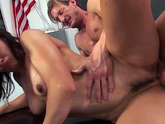 Nasty teacher Cytherea enjoys riding big dick right on the table
