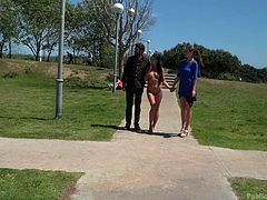 A bright and sunny day, perfect for a walk. Tina is out for a walk herself, at the direction of Steve and Alexa. They walk her naked through a park, searching for some dicks that she can service.