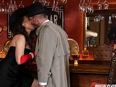 Dressed elegantly like a bitch from the 20s, this hot brunette wearing red gloves that match her high heels, seems eager to get on knees. The versed busty milf starts sucking dick with fervor, as you can see in the crazy video. Have fun and relax!